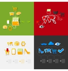 Set of sticker design online shopping concept vector