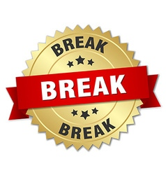 Break 3d gold badge with red ribbon vector
