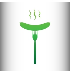 Sausage on fork icon vector