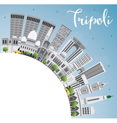 Tripoli skyline with gray buildings vector