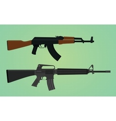 Ak-47 vs m16 comparation with green backround vector