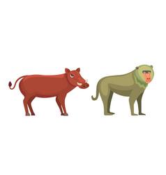 Baboon monkey and warthog savanna animals in vector