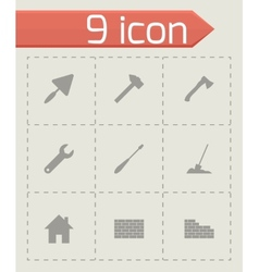 black construction icon set vector image vector image