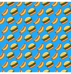 burger and hot dog pattern vector image vector image