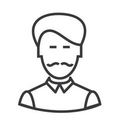 Businesman with moustache line icon sign vector