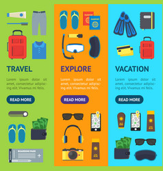 cartoon vacation and travel banner vecrtical set vector image vector image