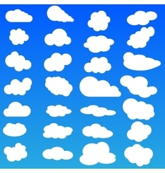 Cloud icon set white color on blue vector image