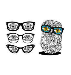 Collection of retro glasses and cute owl vector