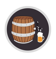 color circular frame with beer barrel and glass vector image