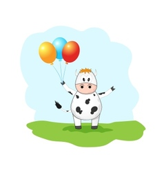 Cute cow with balloons vector