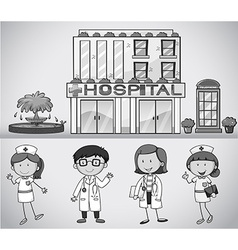 Doctors and nurses working at the hospital vector image