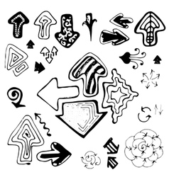 Doodle sketch hand drawn arrows set vector