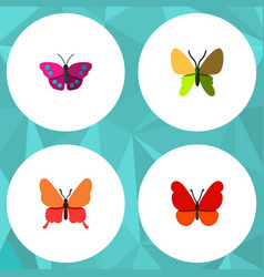 Flat butterfly set of beauty fly archippus vector
