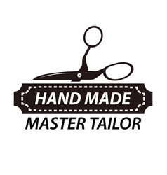 hand made master tailor logotype design with vector image