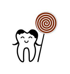 Happy tooth icon vector