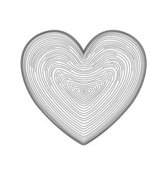Heart icon hand drawn like fingerprint print vector