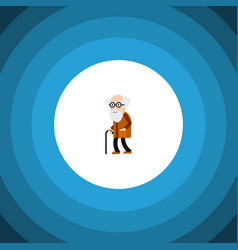 isolated old man flat icon ancestor vector image vector image