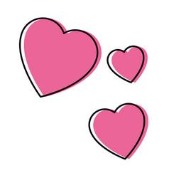 Isolated three hearts vector