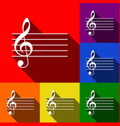 Music violin clef sign g-clef set of vector