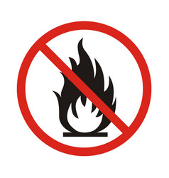 No fire sign prohibition open flame symbol red vector