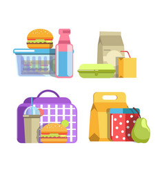 nutritious school lunches in containers isolated vector image vector image