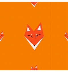 Red fox orange background vector