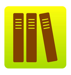 Row of binders office folders icon brown vector