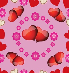 Seamless pattern with pink hearts for valentines d vector