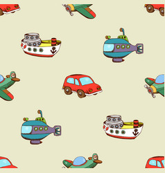 Seamless pattern with ship car and plane vector