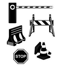 Set icoms road barrier black and white vector