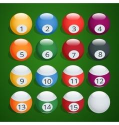 Set of billiard balls Complete Billiard Balls vector image vector image