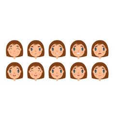 Set of cute girl faces for you design flat and vector