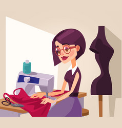 Smiling woman designer character sews clothes vector
