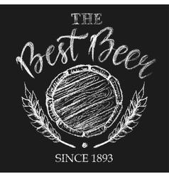 The best beer chalk badge vector