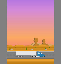 Truck on the road delivery concept vector