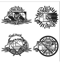 Vintage food truck emblems vector