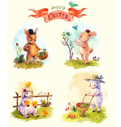 Watercolor vintage style Easter collection cute vector image vector image