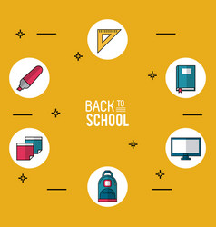 Yellow background poster of back to school with vector