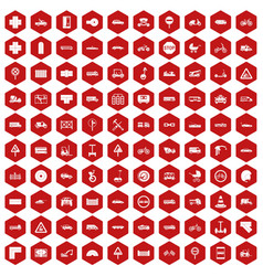 100 road icons hexagon red vector