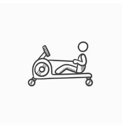 Man exercising in gym sketch icon vector