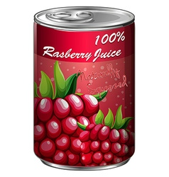 Raspberry juice in aluminum can vector