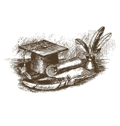 Graduation cap inkstand with feathers and scroll vector