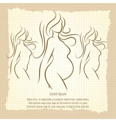 Pregnant woman silhouettes vintage poster vector image