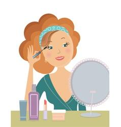 woman applying cosmetic vector image