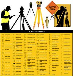 Land survey symbols and equipment vector