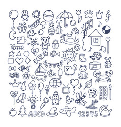 collection of hand drawn cute doodles doodle vector image