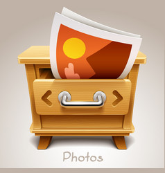 Wooden drawer for photos icon vector