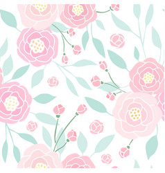 cute pink peony seamless pattern vector image