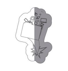 sticker monochrome silhouette folder and tech vector image
