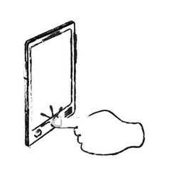 Blurred silhouette image cartoon finger touching a vector